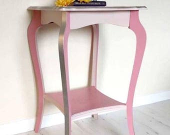Upcycled Table, Occasional, Hall, or Side Table, with Clockface Stencil, in Pink & Silver