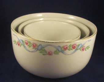 Hall Wildfire Straight Side Mixing Bowl Set 3 pc. Pink Roses & Blue Ribbons