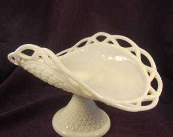Milk Glass Lacey Edge Banana Bowl in the Diamond Pattern made by Imperial Glass Co.