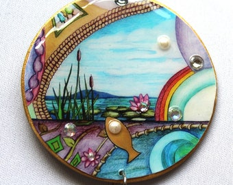 Pretty Fish Pendant/art/drawing/pearls/rainbow/necklace/crushed crystals/rose gold/wood/gold