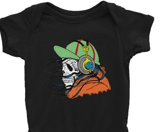Goth Baby Clothes Skull baby onesie goth baby goth punk kids goth kids skull and headphones