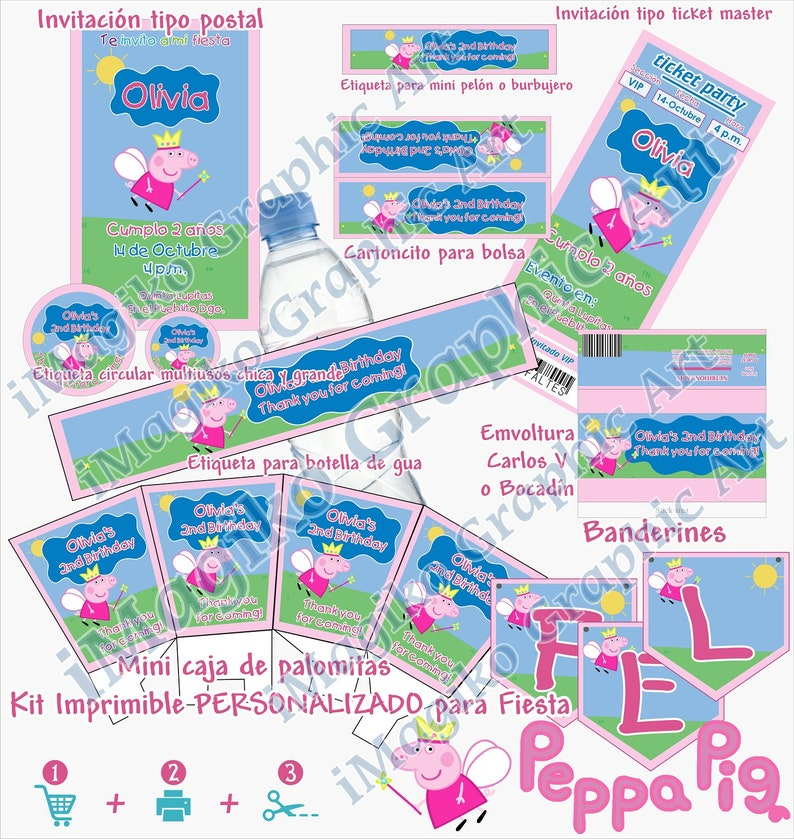 Peppa Pig Inspired Printable Kit Personalized Party Decoration Candy Bar Candy Buffet Stickers Free Shipment Pdf
