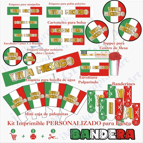 photograph relating to Printable Mexican Flag referred to as MEXICAN FLAG Mexican Social gathering Customized Printable Package deal