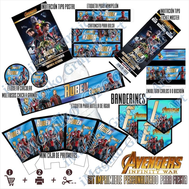 Spiderman Avengers Infinity War Kit De Imprimibles Para Fiesta Etsy