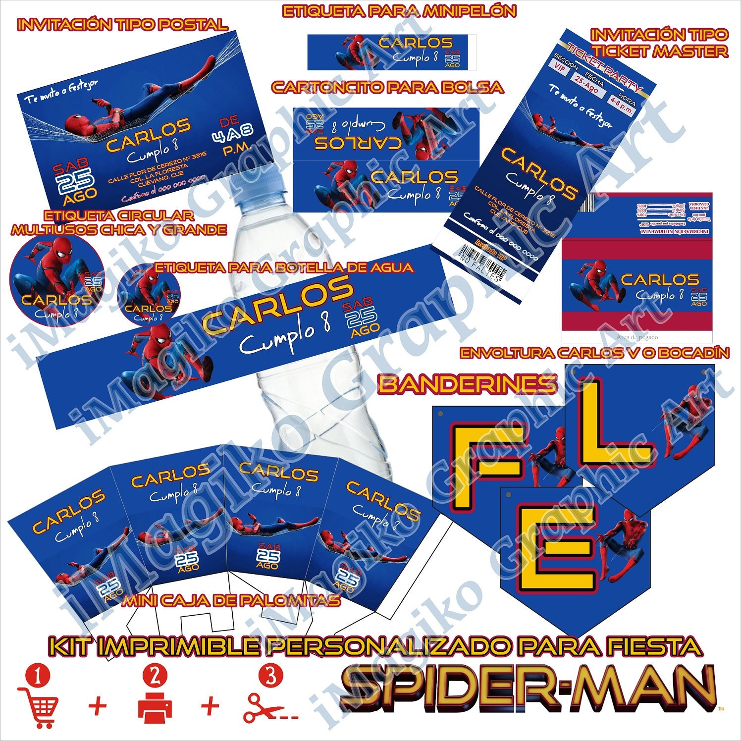 SPIDERMAN Homecoming Printable kit Personalized Party decoration Candy bar  Candy Buffet Stickers Free Shipment PDF
