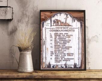 New The Cowboy/'s Ten Commandments Plaque Western Decor  Home and Wall Decor