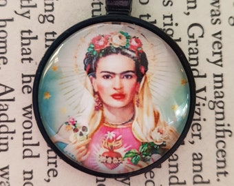 Frida - Pendant choice of four different images and choice of black or antique bronze bezel setting.