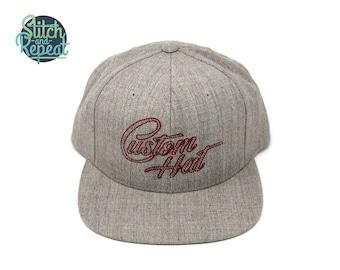 b507d005566f6e Custom Snapback Hat, personalized cap, custom hat, custom embroidery,  embroidery