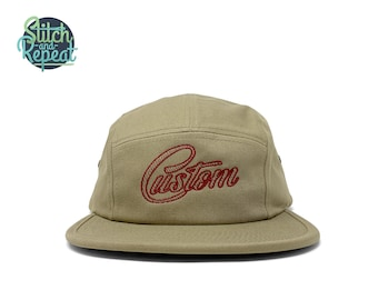 Five panel embroidered cotton hat