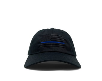 Murdered out American flag with thin blue line/ customizable