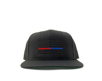 Murdered out American flag with thin red and blue line/ customizable