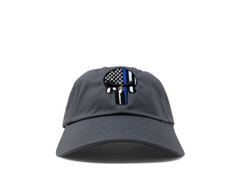 Skull with blue thin line and American flag / cotton twill hat