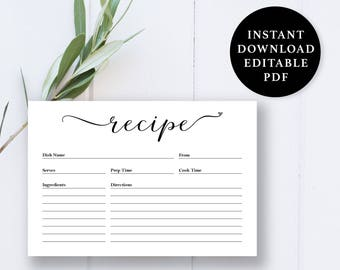 recipe cards etsy