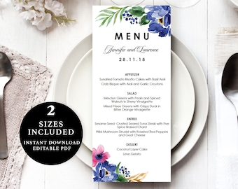 Watercolour Flower Menu Template, 4x9, 5x7, Instant Download Printable, Editable PDF, EWMN026