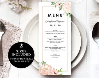 Watercolour Flower Menu Template, 4x9, 5x7, Instant Download Printable, Editable PDF, EWMN004