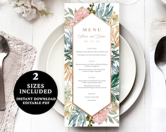 Watercolor Flower Menu Template, 4x9, 5x7, Instant Download Printable, Editable PDF, EWMN007