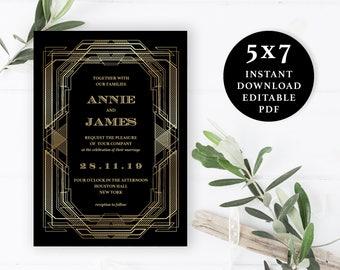 Great Gatsby Wedding Invitation, Wedding Invitation Template, 5x7, Instant Download Printable, Editable PDF, EWIN009