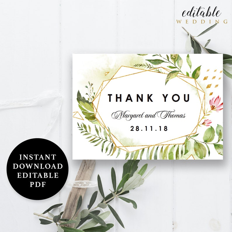 Folded Thank You card EWTY012 Watercolor Flower Green Leaves Thank You Card Template Editable PDF 5x3.5 Instant Download Printable