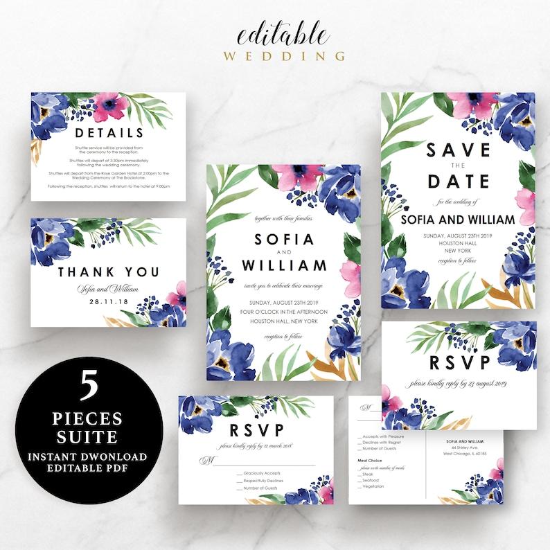 RSVP Instant Download Printable EWSU026 Details Card Flower Wedding Suite Invitation Thank You Card Save the Date