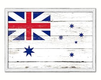 Aussie Flag, Rustic Painted Barn Wood Australia Flag Map Art Print Wall Poster