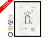 1873 Coffee Mill Grinder Vintage Patent Artwork Black Framed Canvas Print Home Office Decor Great for Coffee Spice Lover Cafe Shop