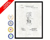 1886 Support for Coffee Mill Grinder Vintage Patent Artwork Black Framed Canvas Print Office Decor Great for Coffee Spice Lover Cafe Shop