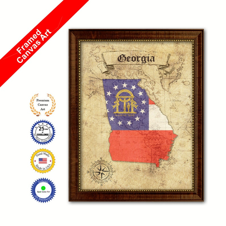 Georgia State Flag Canvas Print with Custom Brown Picture Frame Home Decor Wall