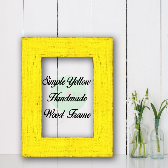 Distressed Frame Picture Frame Photo Frame Simple Yellow Wood Frame Wholesale Art Frame Poster Frame Shabby Chic Farmhouse Home Decor