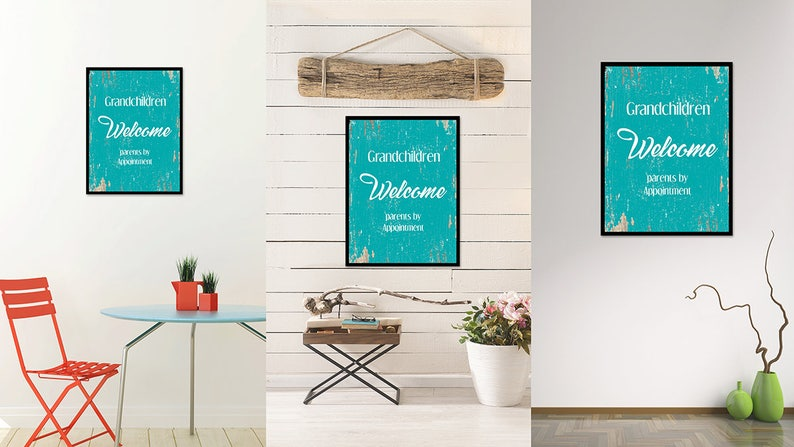 Grandchildren Welcome Quote Saying Canvas Framed Print Wall Art Office Family Grandparents Gift Ideas Home Decor Decorative Beach Art