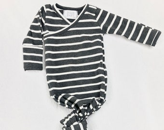 4b724b6e8 Charcoal and White Stripe Kimono Style Newborn Knotted Sleeper Bring Home  From Hospital Outfit Baby Sleeper gown