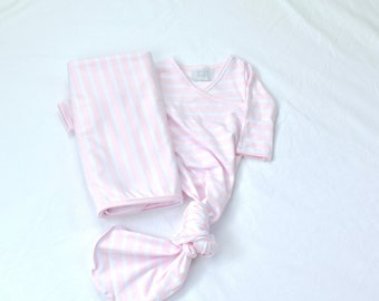 9a3cb77a8 Pink and White Stripe Newborn Knotted Sleeper Gown