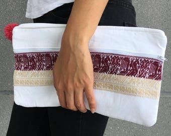 Handmade clutch / makeup bag with 'pepenado' embroidery