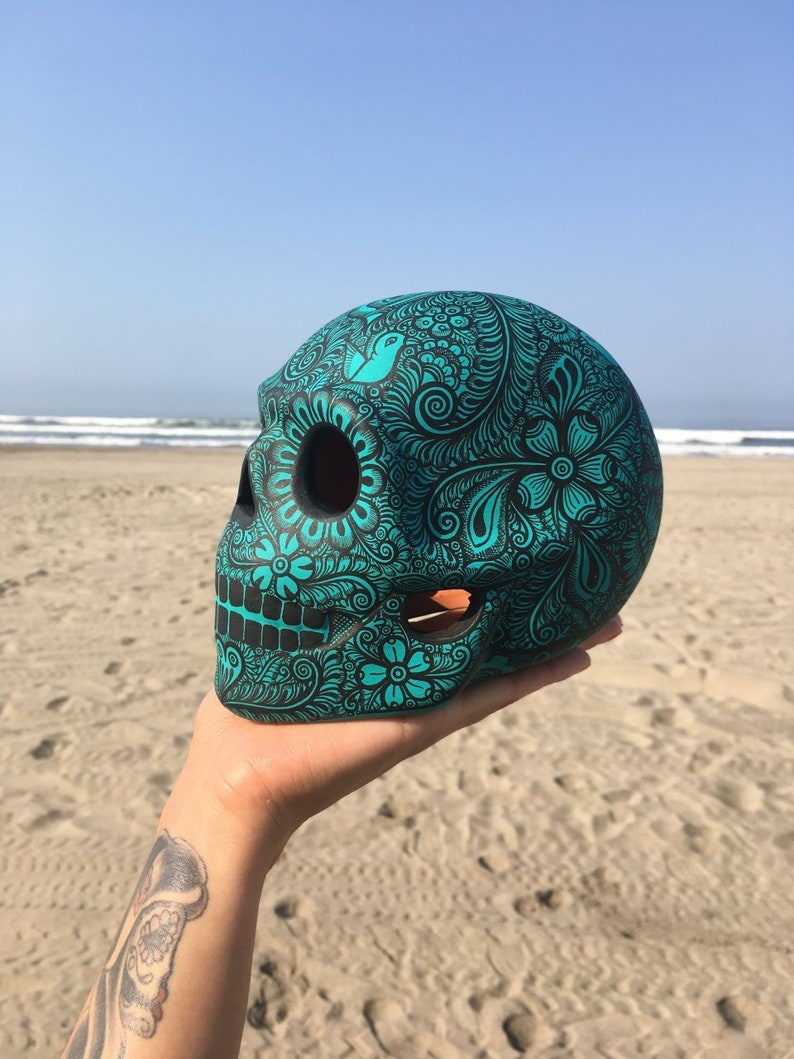 Mexican hand painted skull decor  Day of the Dead image 0