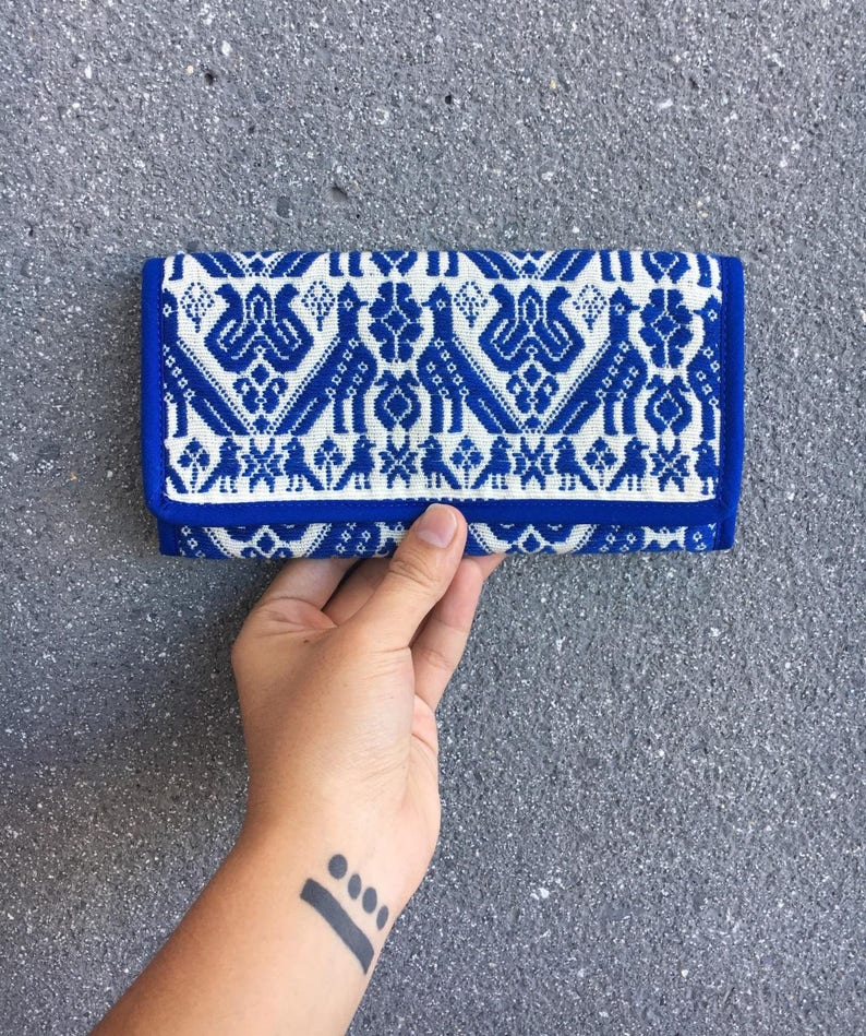 Hand embroidered wallet with mexican design image 0