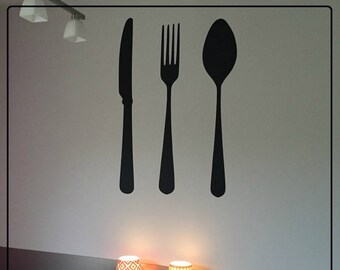 """Stickers kitchen """"Fork, knife and spoon"""" an original wall decoration in your kitchen!"""