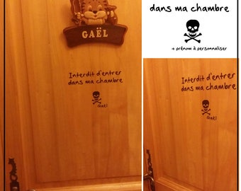 "Sticker ""Forbidden to enter my room"" skull + name to personalize it for decorate your child's room door"