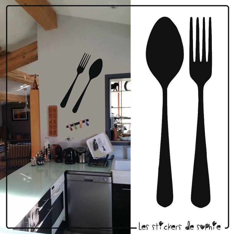 Muurdecoratie Keuken Bestek.Sticker Keuken Vork En Lepel Voor Een Originele Etsy