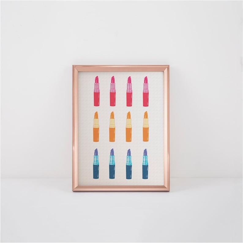 Lipstick Abstract Art Printable Wall Art Lipstick Makeup Wall Art Fashion Wall Art Bathroom Wall Decor Gift For Her Digital Download