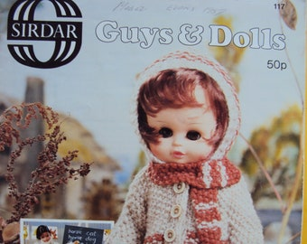 """Sirdar knitting  """"Guys & Dolls"""" pattern booklet from Great Britain -80's vintage"""