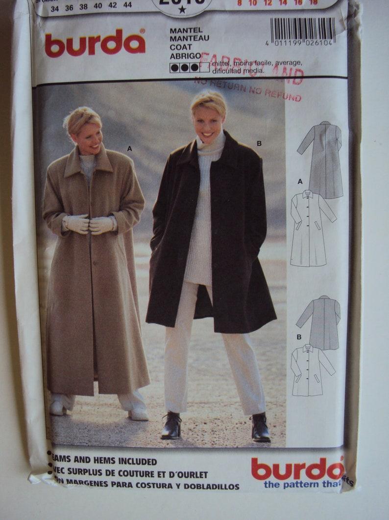 36500b150 Lâche des femmes doublé manteau patron Burda 2610 tailles 8-10-12-14-16-18  non-coupe usine pli