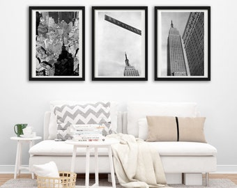 New York. Set of 3 photographs Empire State Building, Manhattan. Black and white. Architecture Photography, Urban Style.