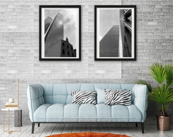 New York. Set of 2 photographs World Trade Center, Manhattan. Black and white. Architecture Photography, Urban Style.