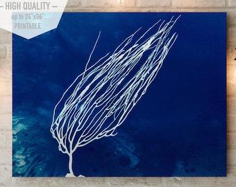 Cianotipia Azul, Arte para imprimir, estampada a mano con corales, estilo minimalista para decorar su hogar u oficina. Interiorismo