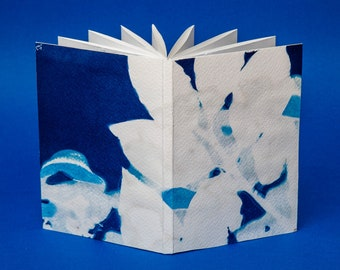Handmade Zig-Zag notepad bound with an exclusive cyanotype.