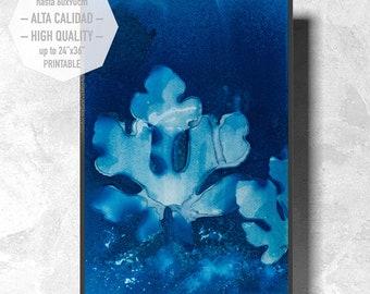 Cianotipia Azul, Arte para imprimir, estampada a mano con hojas de higuera, estilo minimalista para decorar su hogar u oficina. Interiorismo