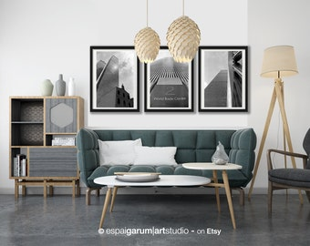 New York. Set of 3 World Trade Center photographs, Manhattan. Black and white. Architecture Photography, Urban Style.