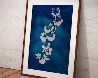 Cianotipia Azul, Arte para imprimir, estampado a mano con plantas, estilo minimalista para decorar su hogar u oficina. Interiorismo