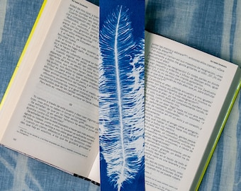 Book point with handmade feathers in original cyanotyping.