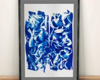 Cianotipia Azul, Arte para imprimir, estampada a mano con plumas, estilo minimalista para decorar su hogar u oficina. Interiorismo
