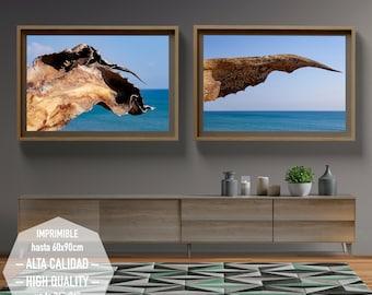 Arte fotográfico del Mar Mediterráneo para imprimir. 2 fotografías para decorar su hogar u oficina. Interiorismo.